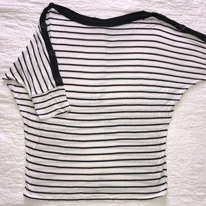 Button Sleeve Dolman Top Black and White Stripe
